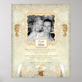 16x20 Wedding Photograph Love Chap Beach Seashore Poster