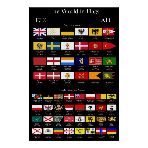 1700 AD Flags of the World Poster