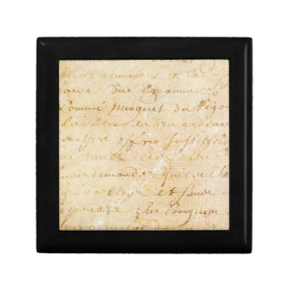 1700s Vintage French Antique Script Background Small Square Gift Box