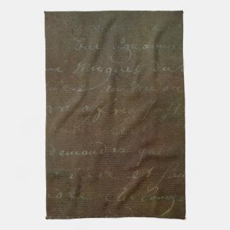 1700s Vintage French Brown Script Grunge Parchment Tea Towel