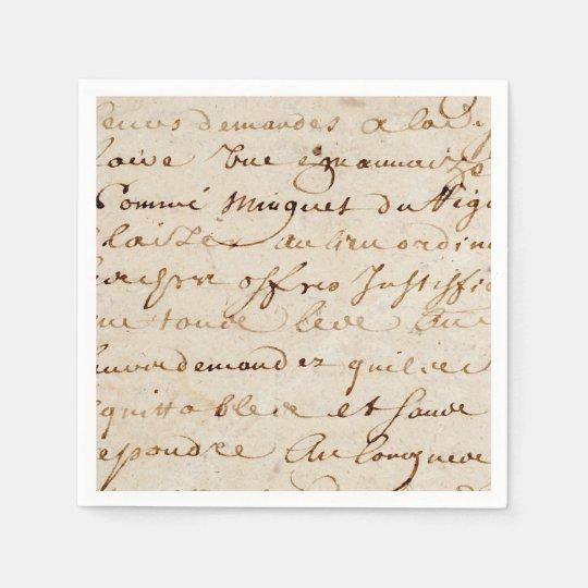 1700s Vintage French Script Grunge Parchment Paper Disposable