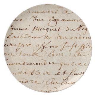 1700s Vintage French Script Grunge Parchment Paper Dinner Plates