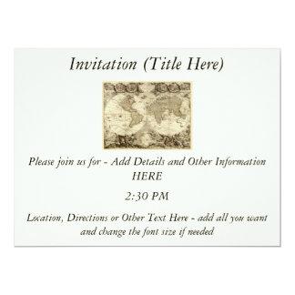 1708 World Map by Jean Baptiste Nolin 17 Cm X 22 Cm Invitation Card