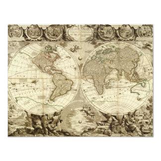 1708 World Map by Jean Baptiste Nolin 11 Cm X 14 Cm Invitation Card