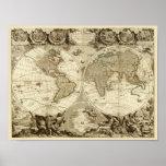 1708 World Map by Jean Baptiste Nolin Poster