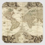 1708 World Map by Jean Baptiste Nolin Square Sticker