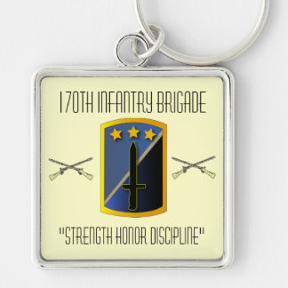 170th Infantry Brigade Silver-Colored Square Key Ring