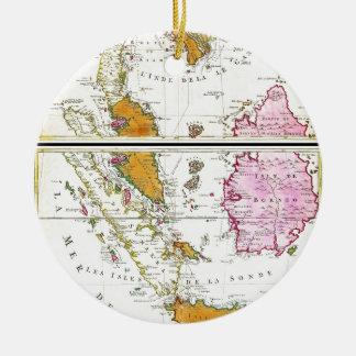 1710 Ottens Map of Southeast Asia Singapore Thai Round Ceramic Decoration
