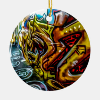 1711 COLORFUL STREET GRAFFITI GANGSTER CITY WALLS CHRISTMAS ORNAMENT