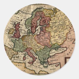 1721 Map of Europe Round Sticker