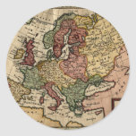 1721 Map of Europe Round Stickers