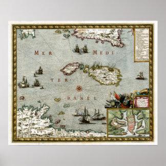1723 Malta Map Poster