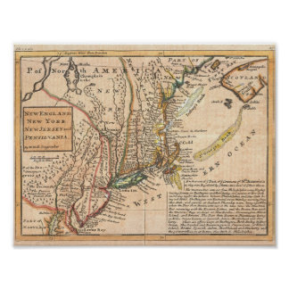 1729 Moll Map New York, Old, Vintage, Antique Map Poster