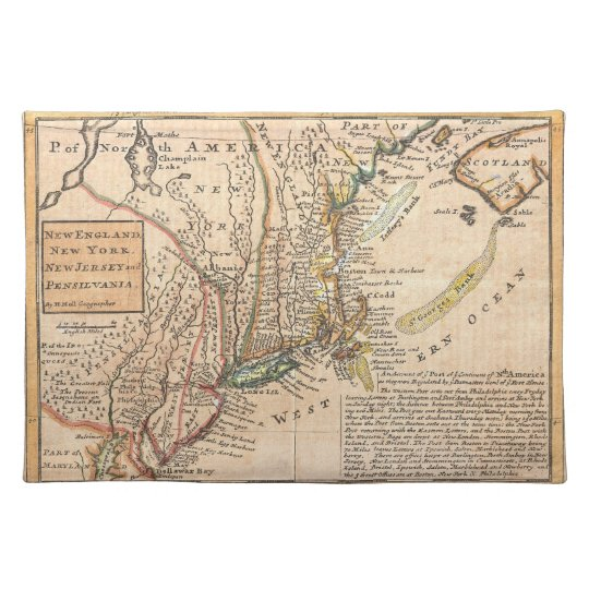 1729 Moll Map of New York Placemat
