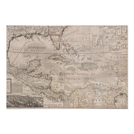 1732 English Chart of the Caribbean LARGE