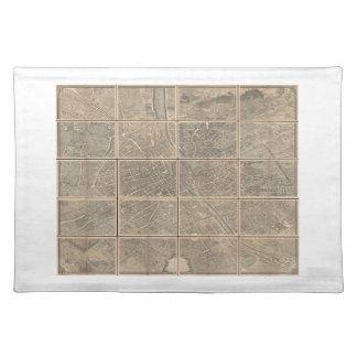 1739 Turgot View and Map of Paris France Bretez Place Mats