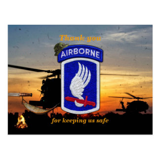 173rd airborne sky soldiers lrrp vets patch postcard