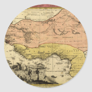 1743 West Africa Map Classic Round Sticker