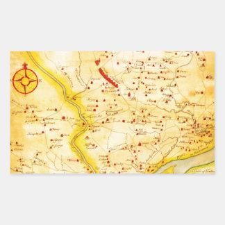 1752 1850 Scull Heap Map of Philadelphia E Rectangle Sticker