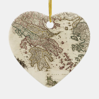 1752 Map of Ancient Greece Ceramic Heart Decoration