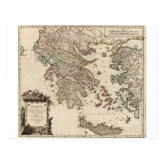 1752 Map of Ancient Greece Postcard