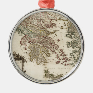 1752 Map of Ancient Greece Silver-Colored Round Decoration