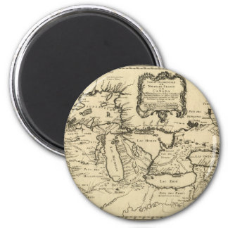 1755 Great Lakes and New France / Canada Map 6 Cm Round Magnet