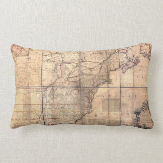 1757 British & French Dominions North America Map Throw Cushions