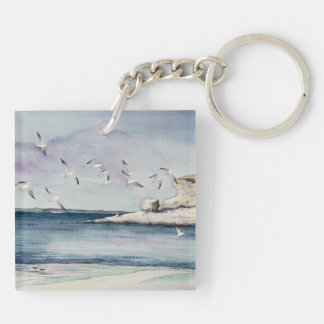 1774 Seagulls at Sandy Beach Key Ring
