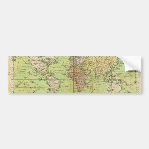 1778 Bellin Nautical Chart or Map of the World Bumper Sticker