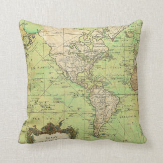 1778 Bellin Nautical Chart or Map of the World Cushion