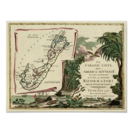1778 Le Isole Bermude Map Poster