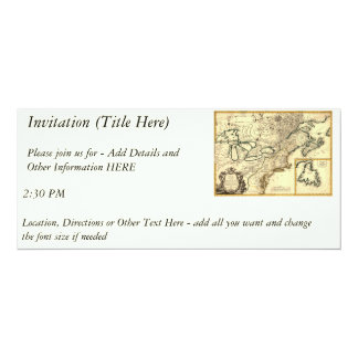 1778 Map of Canada and the United States 10 Cm X 24 Cm Invitation Card