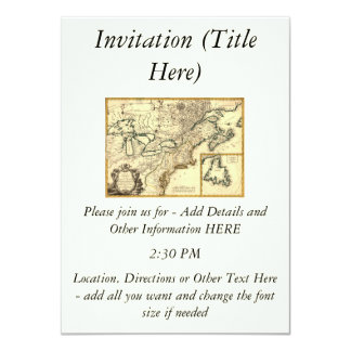 1778 Map of Canada and the United States 11 Cm X 16 Cm Invitation Card