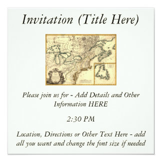 1778 Map of Canada and the United States 13 Cm X 13 Cm Square Invitation Card