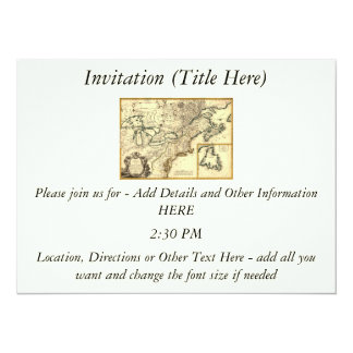 1778 Map of Canada and the United States 14 Cm X 19 Cm Invitation Card