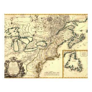 1778 Map of Canada and the United States 21.5 Cm X 28 Cm Flyer