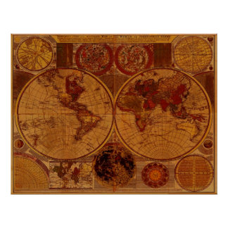 1780 world map posters prints zazzle 1780 old world map art poster gumiabroncs Gallery