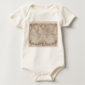 1782 Baldwyn Map of the World Baby Bodysuit