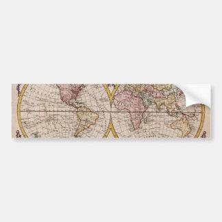 1782 Map of the World by George Augustus Baldwyn Bumper Sticker