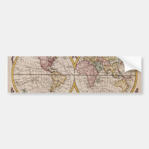 1782 Map of the World by George Augustus Baldwyn Bumper Stickers