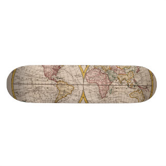 1782 Map of the World by George Augustus Baldwyn Skateboard Deck
