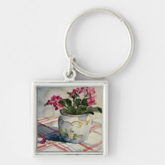 1790 African Violets in Blue Pot Silver-Colored Square Key Ring