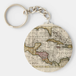 1790 Map of The West Indies by Dilly and Robinson Basic Round Button Key Ring