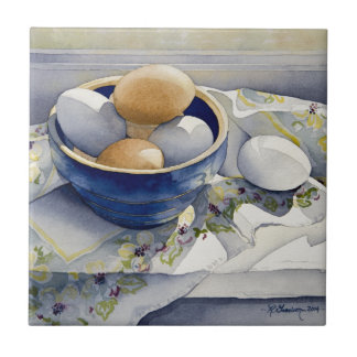 1791 Eggs in Blue Bowl Small Square Tile