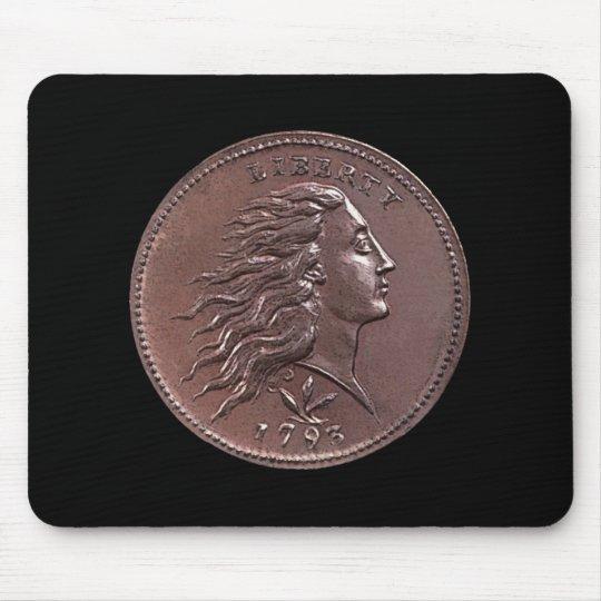 1793 Flowing Hair Large Cent Mouse Mat