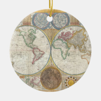 1794 Double Hemisphere Map Round Ceramic Decoration