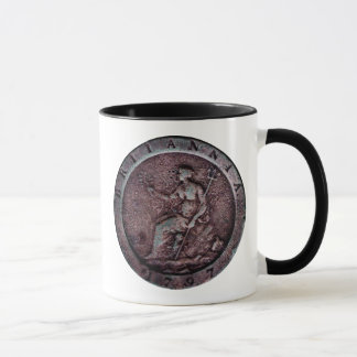 "1797 British ""cartwheel"" penny mug"