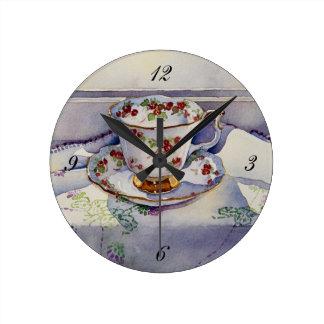 1799 Teacup on Linen Round Clock