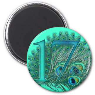 17 birthday peacock template age number 6 cm round magnet